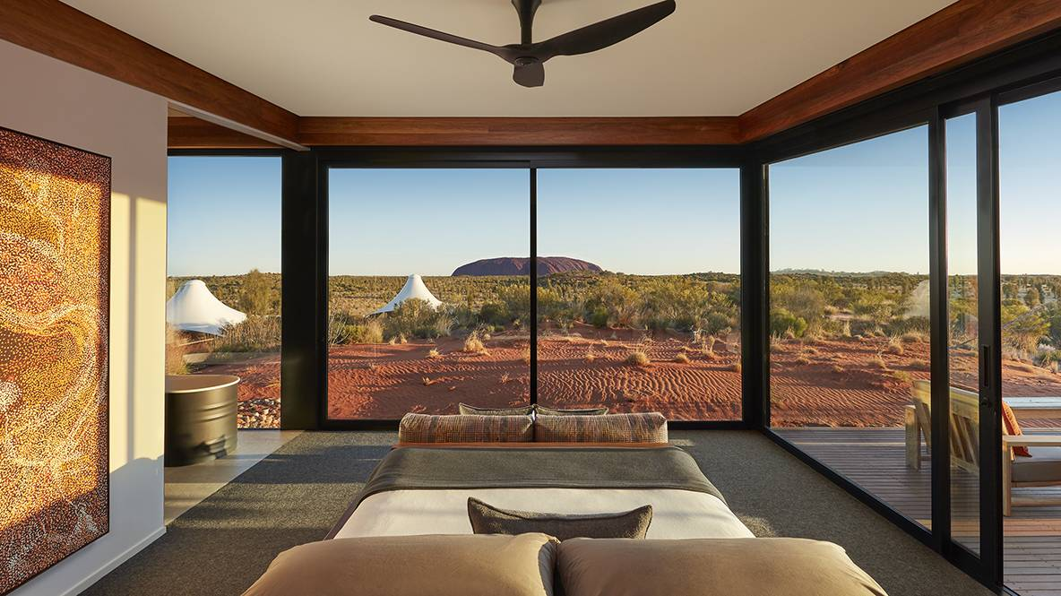 View of Uluru from Longitude 131's Dune Pavilion room. Picture: Supplied