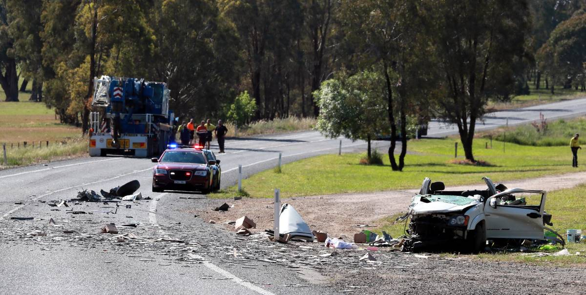 INVESTIGATION: The scene of the crash involving a ute and a mobile crane on the Sturt Highway near Alfredtown yesterday. Picture: Les Smith