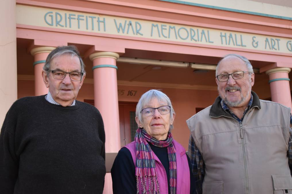 BACK IN BUSINESS: Garry Smellie, Pat Cox and Theo Bollen from the Griffith War Memorial Museum. PHOTO: Shaun Paterson