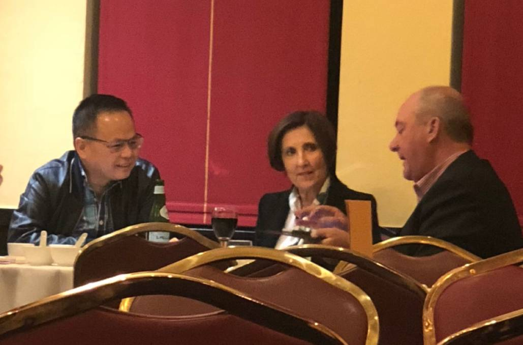MEETING: Former Wagga MP Daryl Maguire (right) meets with Louise Raedler-Waterhouse and Sydney property agent William Luong. Picture: ICAC