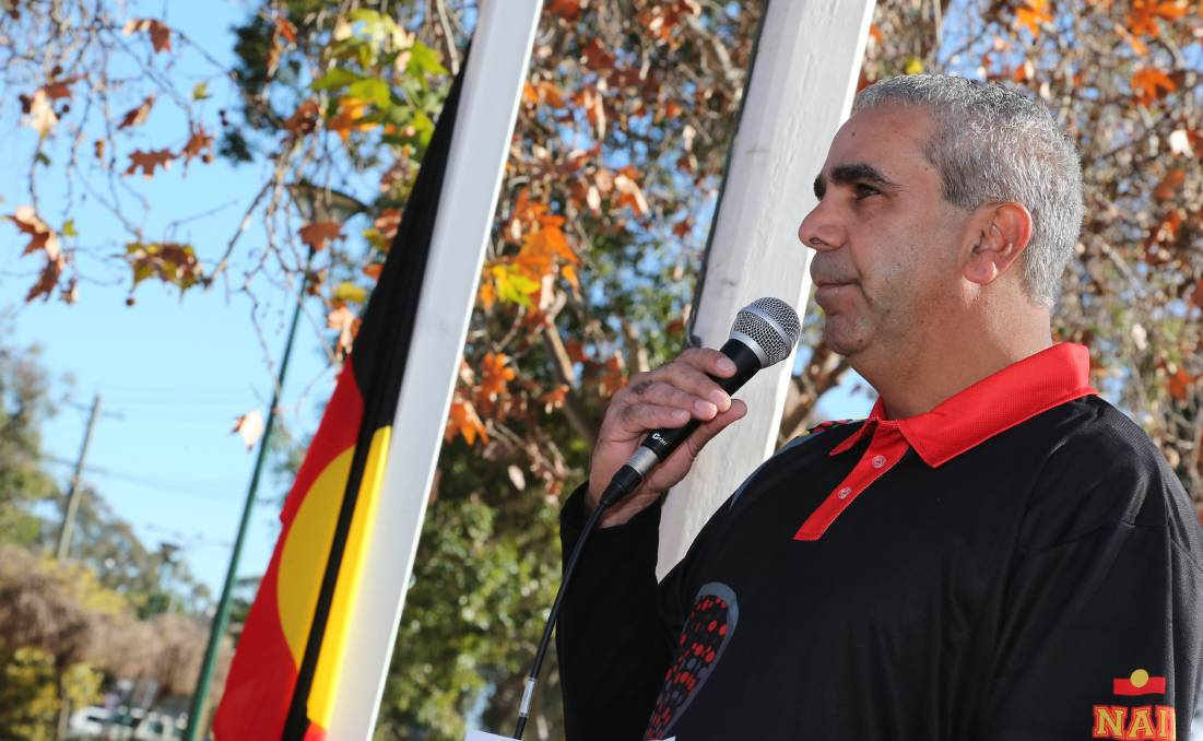 STAND UP AND BE COUNTED: Roger Penrith speaks during Griffith NAIDOC Week celebrations in 2014.