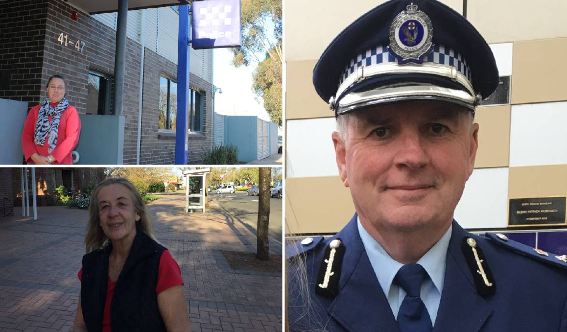 CONCERNED: Murrumbidgee Police District's acting commander Detective Superintendent Peter O'Brien (right) addresses rural crime concerns brought forth by Kerrie Johnston (top left) and Debbie Buller (bottom left).
